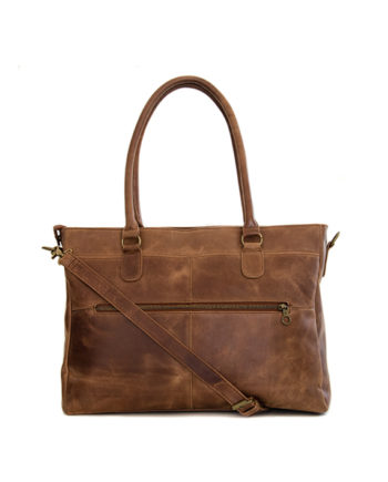 "Genuine leather handbag Casablanca 15"" Waxy Tan"