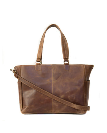 Leather Nappy Bag Zempie Front Waxy Tan