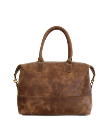 Genuine leather handbag Poppy Waxy Tan