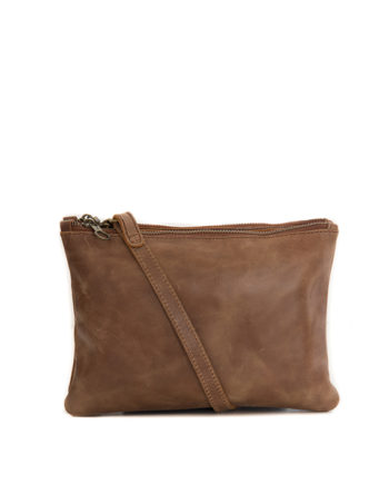 100% waxy tan leather clutch / slingbag paddington