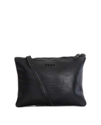 100% black leather clutch / slingbag paddington