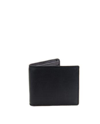 Wall Street Black Genuine Leather Mens Wallet