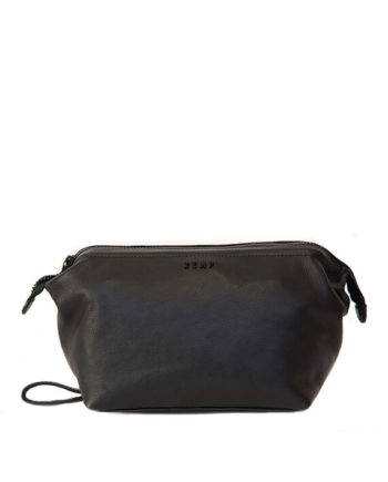 Leather Toiletry Bag Charlie Front Black